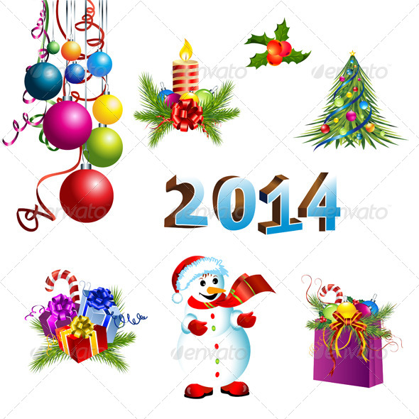 Christmas Decoration  Template Set - Decorative Symbols Decorative