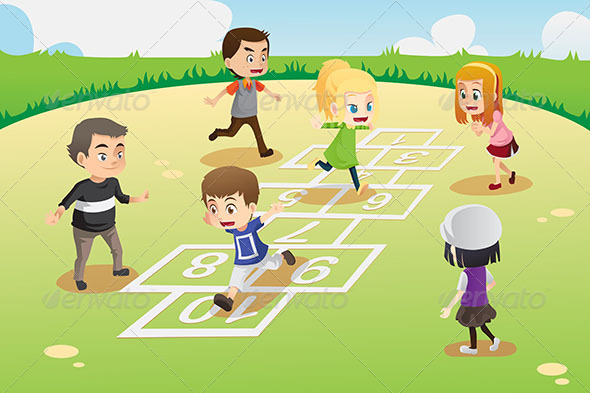 Kids Playing Hopscotch - Sports/Activity Conceptual