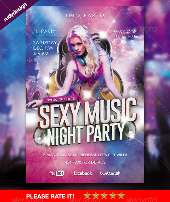 Sexy Music Night Theme Party Flyer - Clubs & Parties Events