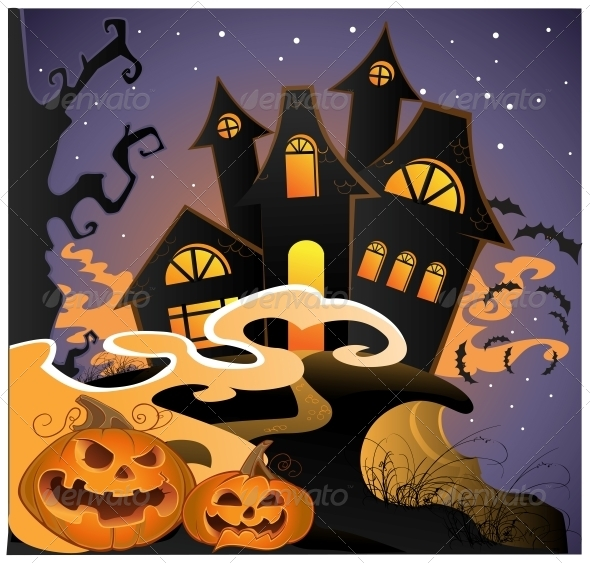 Halloween Landscape with Pumpkins - Halloween Seasons/Holidays