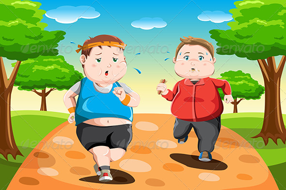Overweight Kids Running - Sports/Activity Conceptual