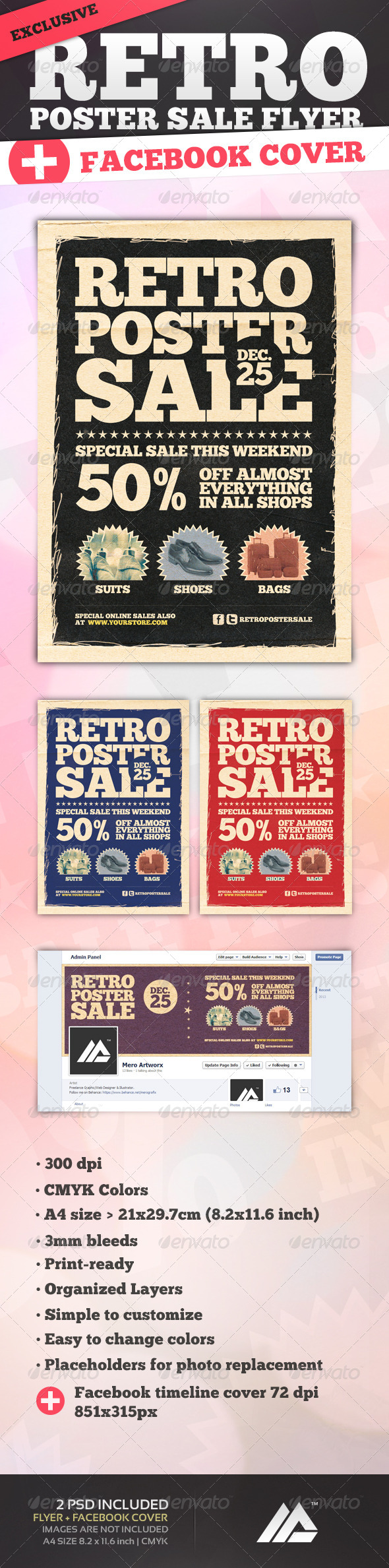 Retro Poster Sale Flyer PSD - Flyers Print Templates