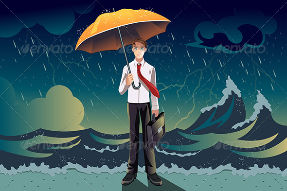Businessman in a Storm - Concepts Business