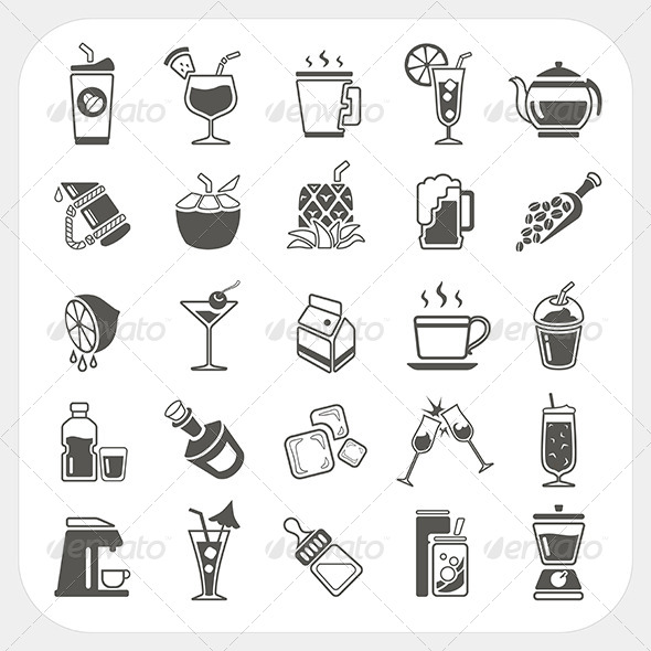 Beverage Icons Set - Food Objects