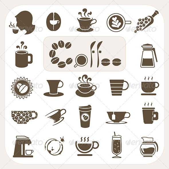 Coffee Collection Icons Set - Food Objects