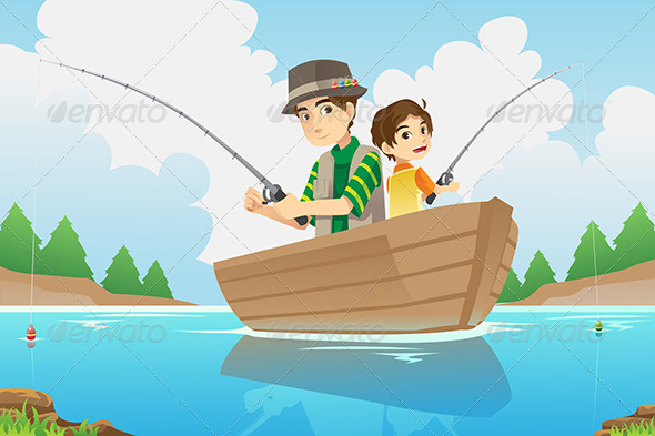 Father and Son Fishing - Sports/Activity Conceptual
