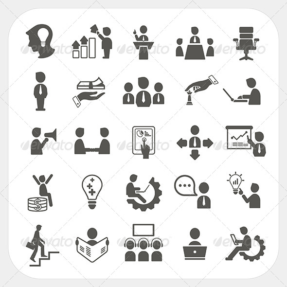 Management and Business Icons Set - Business Conceptual