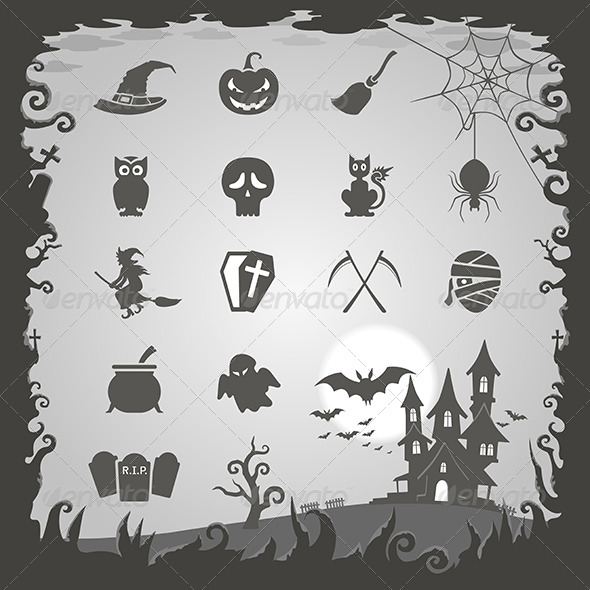 Halloween Icons with Halloween Background - Halloween Seasons/Holidays