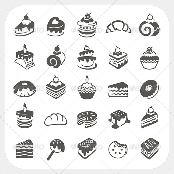 Cakes and Dessert Icons Set - Food Objects