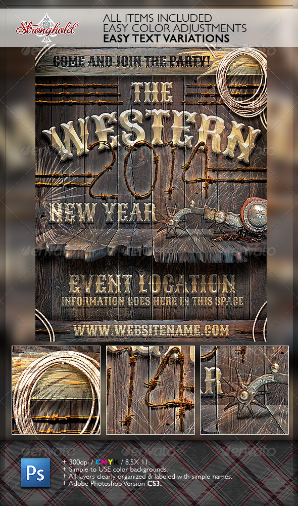 New Year Western Wood Flyer Template - Events Flyers