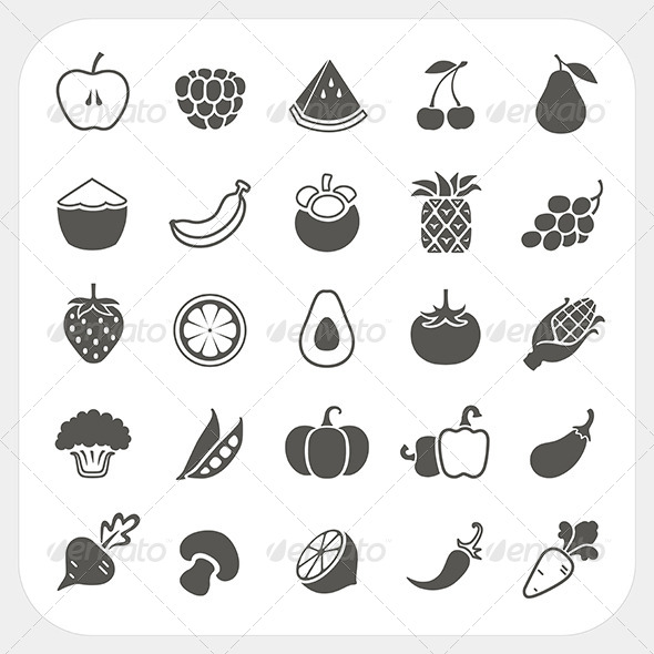 Fruits and Vegetables Icons Set - Food Objects