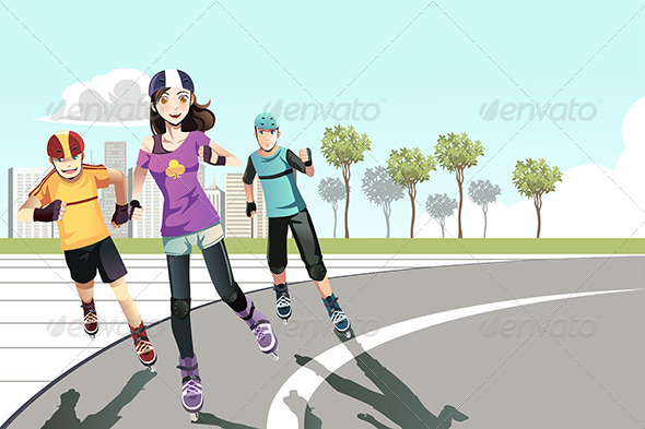 Rollerblading Teenagers - Sports/Activity Conceptual