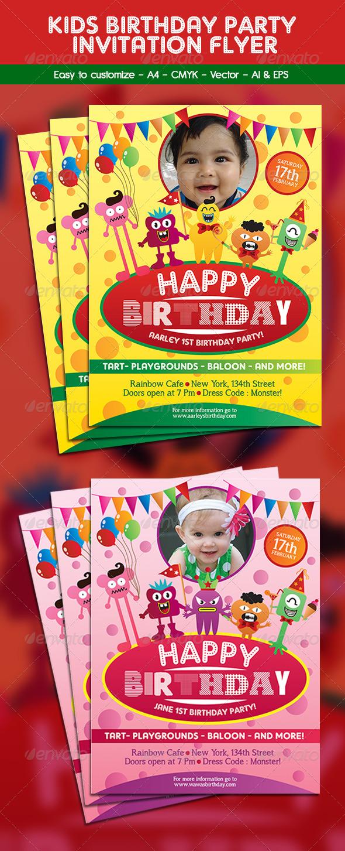 Kids Birthday Party Invitation Flyer by arifpoernomo | GraphicRiver