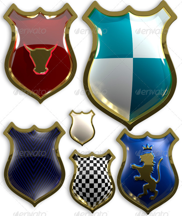 Set of Shields - Objects 3D Renders
