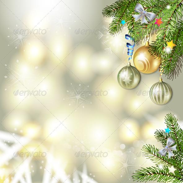 Christmas Balls and Pine Tree  - Christmas Seasons/Holidays