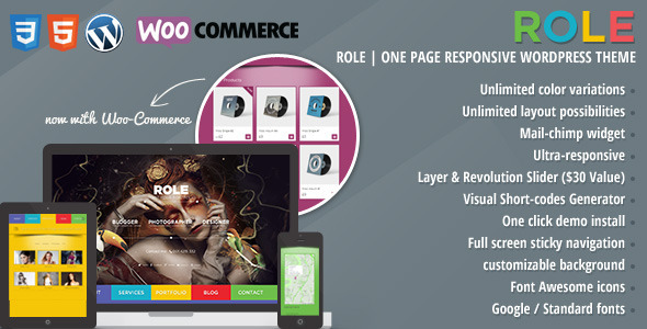 Role | One Page Responsive E-Commerce Theme