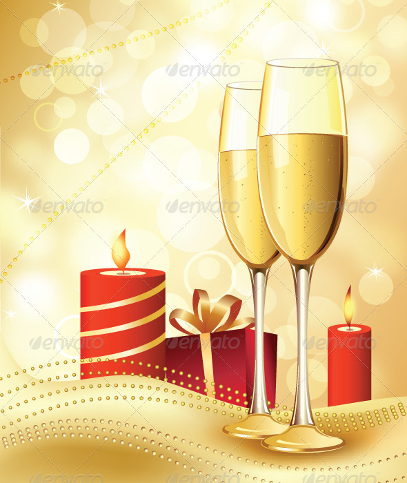 Candle and Champagne - Vectors