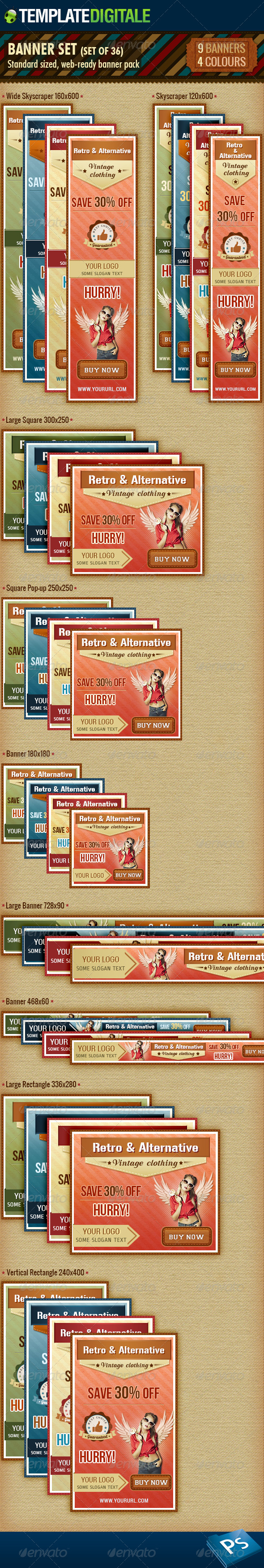 36 - Vintage Banner Set - Banners & Ads Web Elements