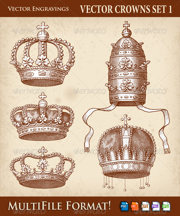 Vector Antique Crown Illustrations - Objects Vectors