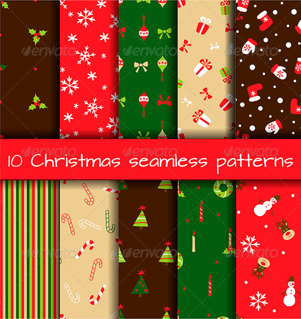 Set of 10 Seamless Christmas Patterns - Patterns Decorative