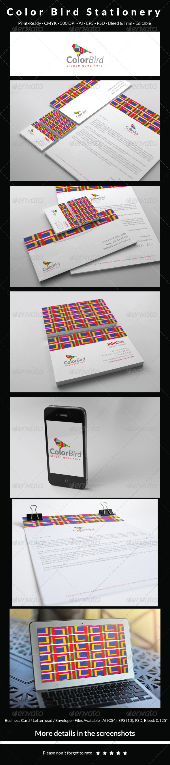Color Bird Stationery - Stationery Print Templates