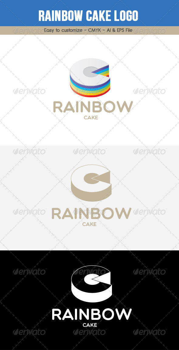 Rainbow Cake Logo - Food Logo Templates