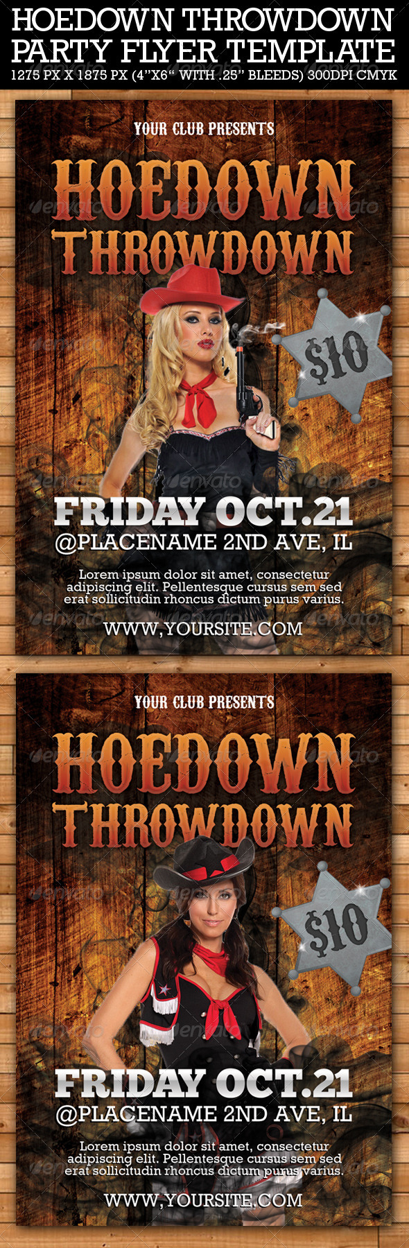 Hoedown Throwdown Party Flyer Template - Clubs & Parties Events