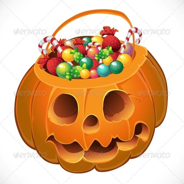 Pumpkin with a Candy - Halloween Seasons/Holidays