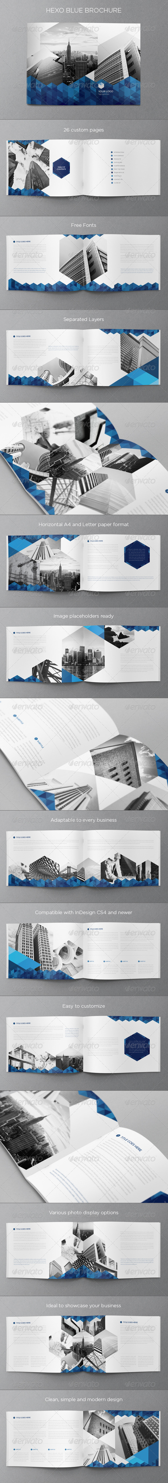 Real Estate Blue Hexo Brochure - Brochures Print Templates