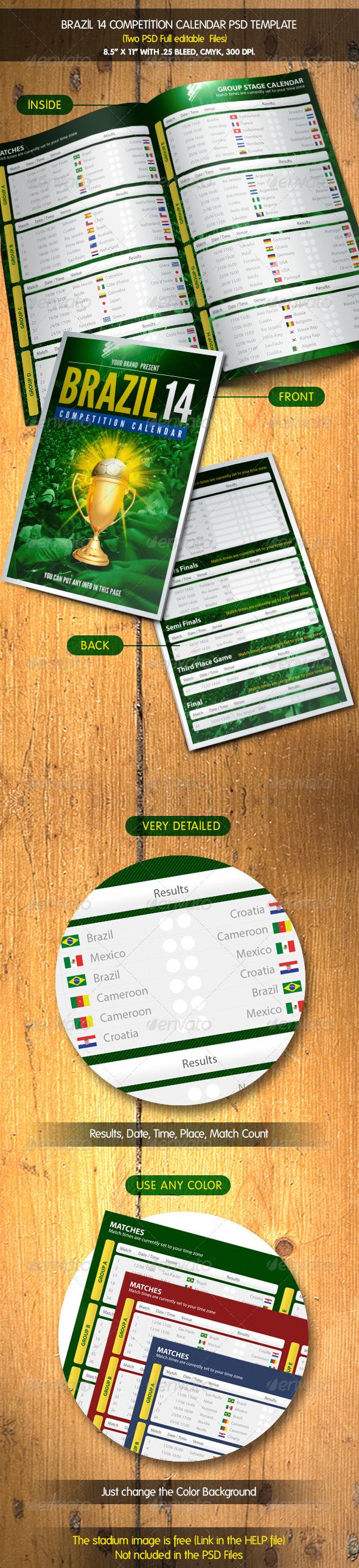 Soccer Brazil 14 Calendar   Match Schedule - Calendars Stationery