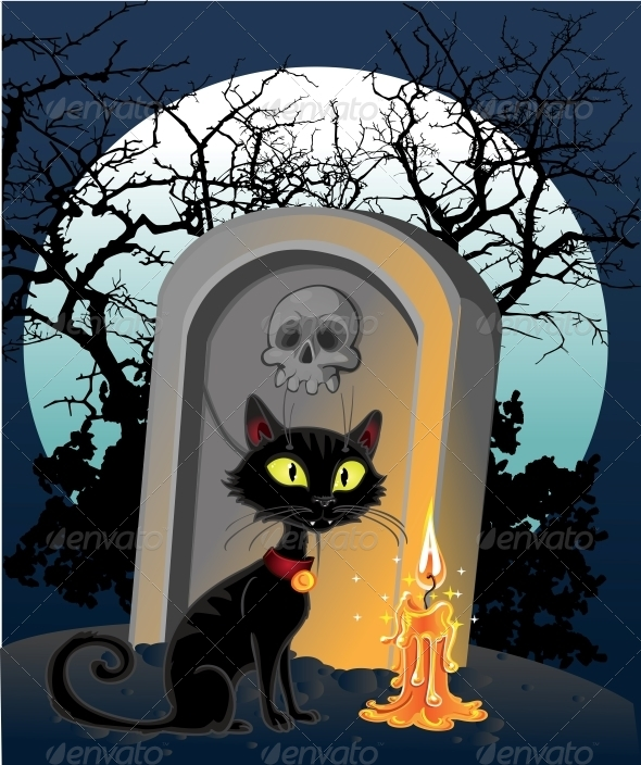 Grave with a Black Cat in the Night - Halloween Seasons/Holidays