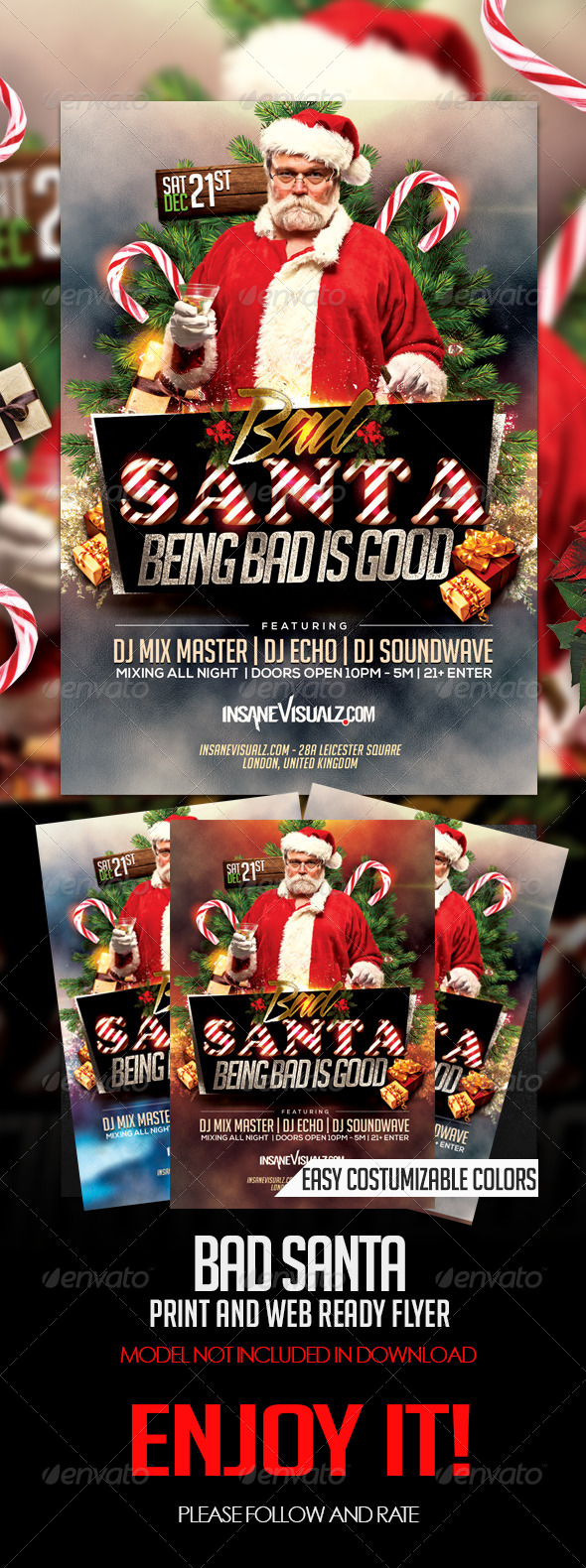 Bad Santa Flyer - Clubs & Parties Events