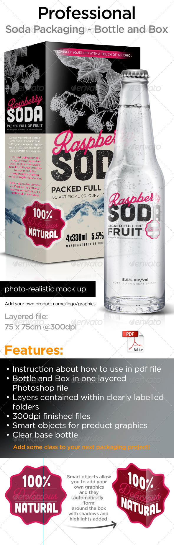 Bottle and Box Packaging - Product Mock-Ups Graphics