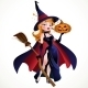 Witch in Cloak with a Pumpkin - GraphicRiver Item for Sale