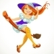 Young Witch on a Broomstick in the Air - GraphicRiver Item for Sale