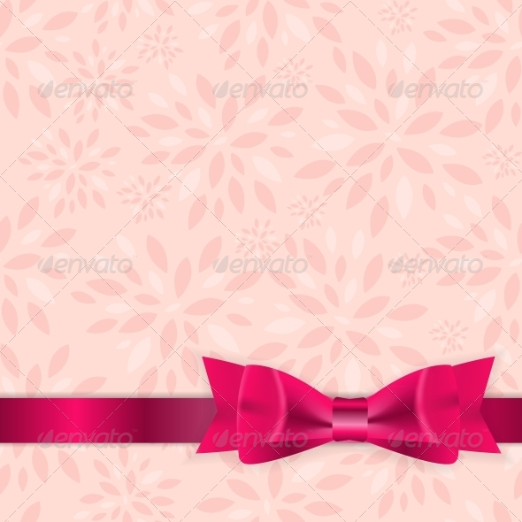 Floral Background with Bow and Ribbon Vector - Flowers & Plants Nature