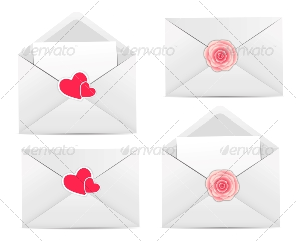 Valentine`s Day Card with Envelope, Heart and Rose - Valentines Seasons/Holidays