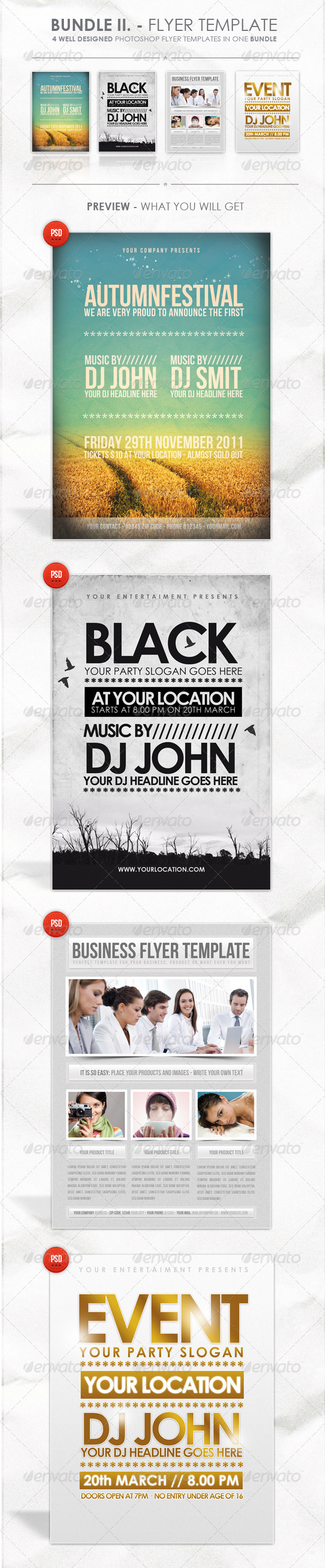Bundle II. - Flyer Template - Clubs & Parties Events
