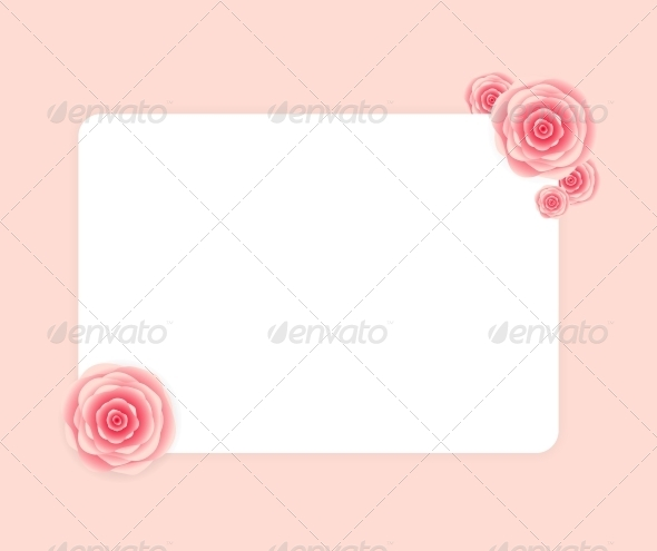 Cute Frame with Rose Flowers  Vector Illustration - Decorative Symbols Decorative