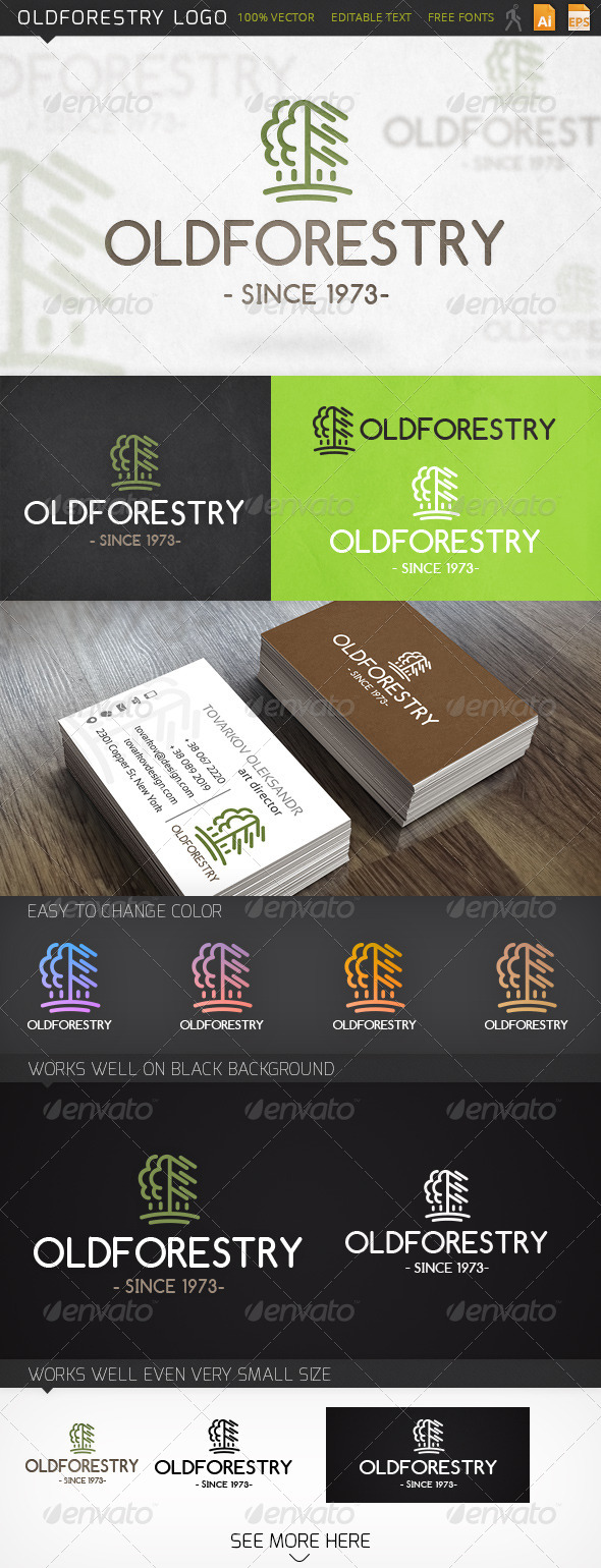 Oldforestry Tree Logo Template - Nature Logo Templates