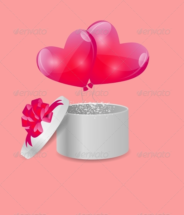 Valentines Day Card with Gift Box and Heart Balloons - Valentines Seasons/Holidays