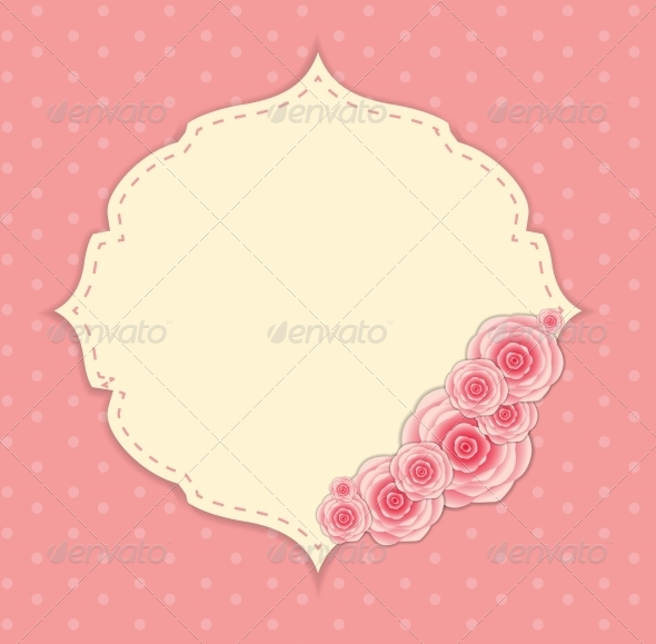 Cute Frame with Rose Flowers  Vector Illustration - Valentines Seasons/Holidays