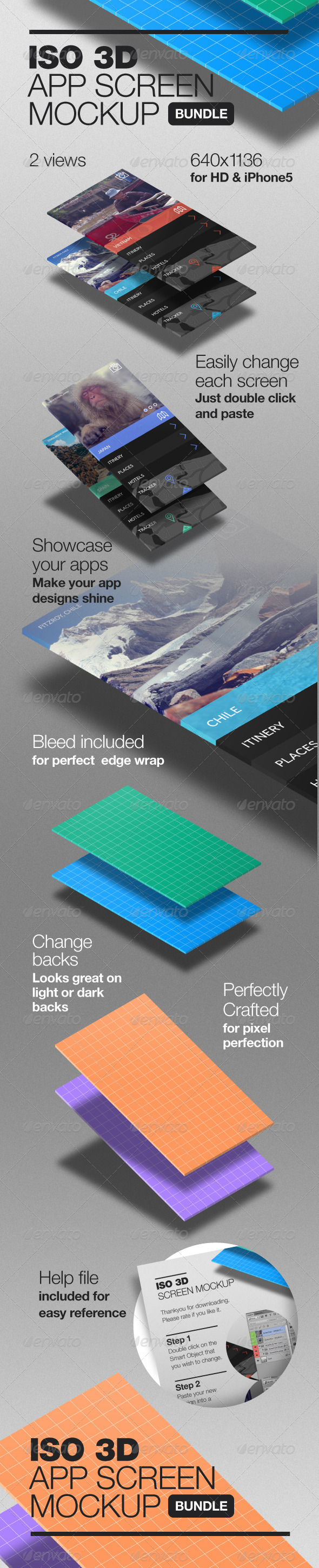 3D Isometric App Screen Mockup - Mobile Displays