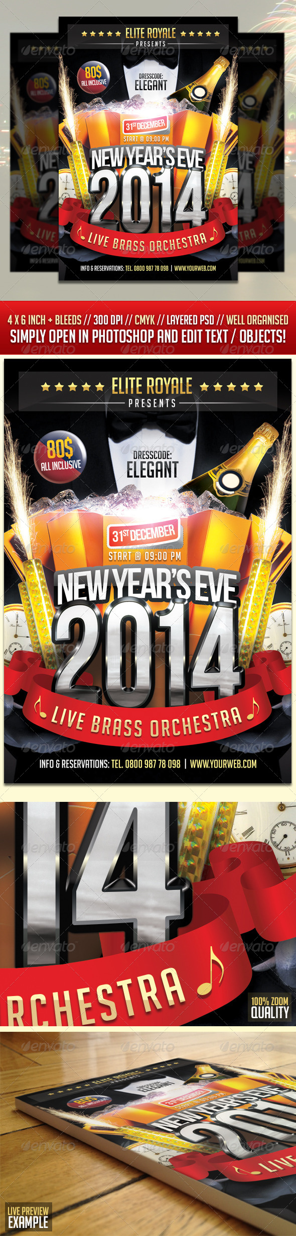 New Year Eve Elegant Party Flyer - Holidays Events