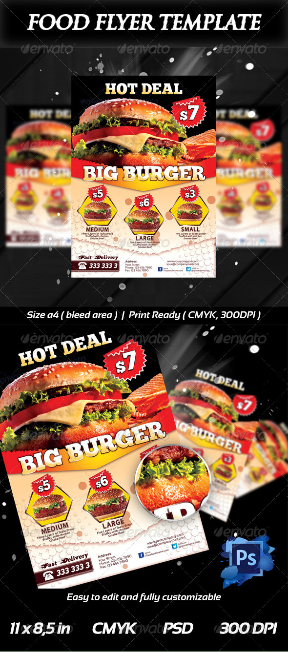 Fresh Burger Food Flyer Templates - Restaurant Flyers