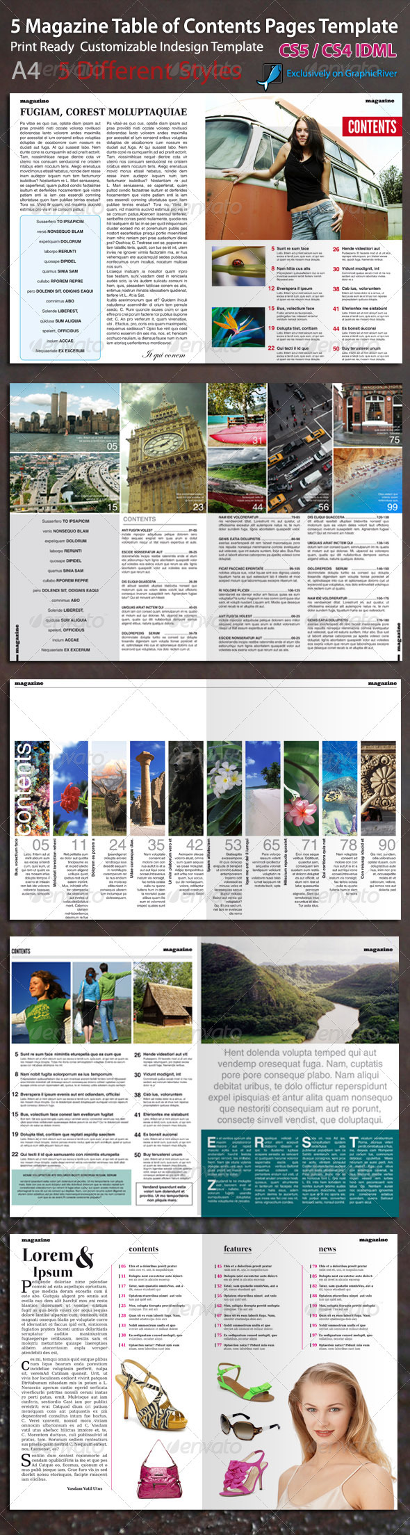 Magazine Table of Contents Page Template - Magazines Print Templates