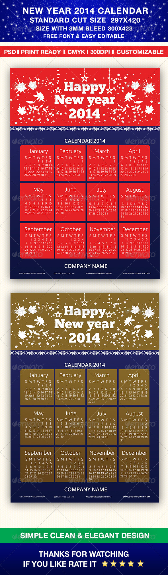 New Year 2014 Calendar - Calendars Stationery