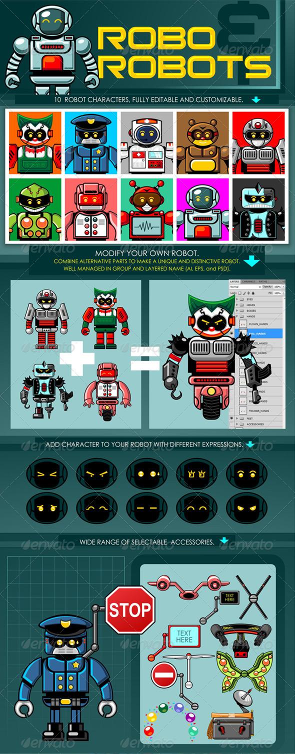 Robo & Robots - Characters Vectors