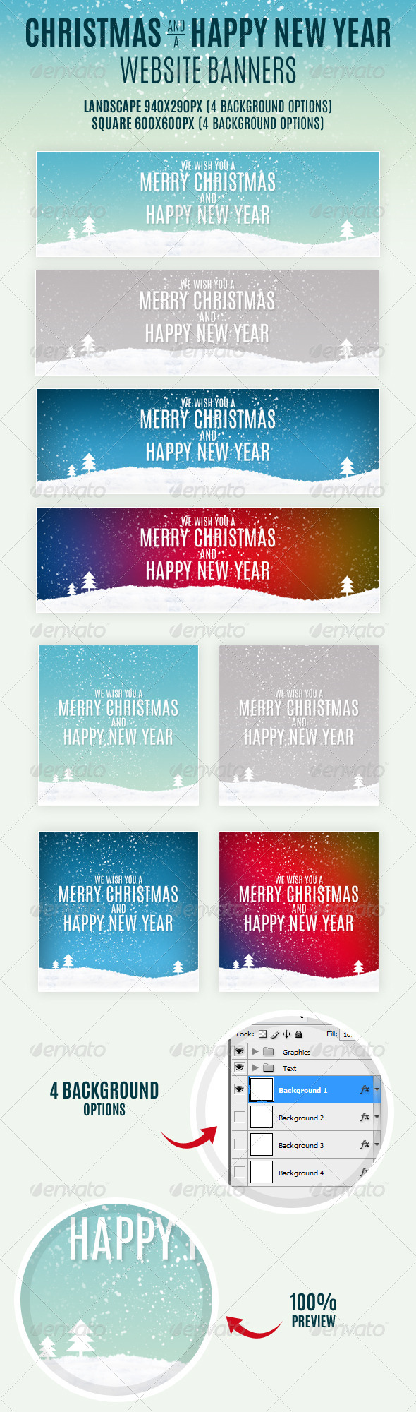 Christmas And Happy New Year Website Banners - Banners & Ads Web Elements