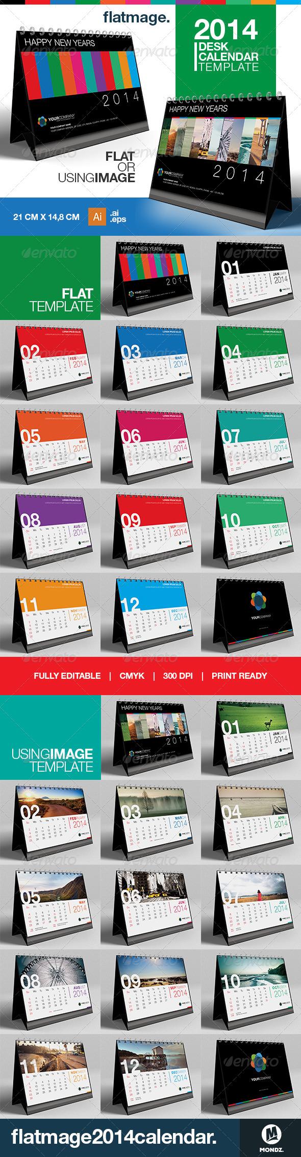 Flatmage Desk Calendar 2014 Template - Graphics